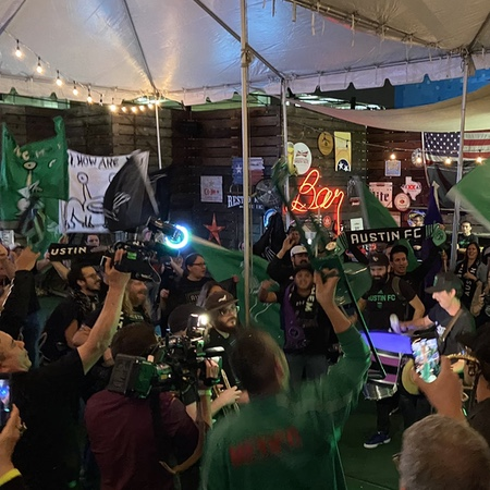 Austin FC anniversarry party with Austin Anthem