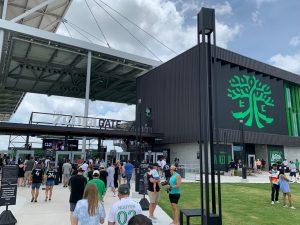 "The northwest (""Zebra"") gate of McKalla Place Stadium on June 12, 2021"