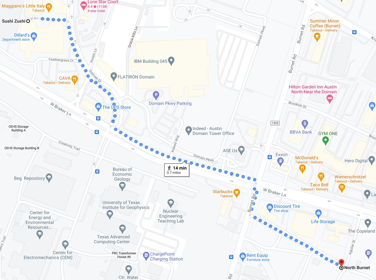 Map of walking route described in this post, from the Domain Green Garage to McKalla Place (Q2) Stadium