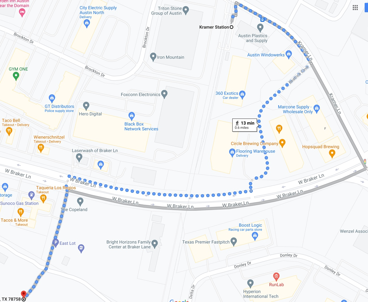 Map of walking route described in this post, from Kramer Station to McKalla Place (Q2) Stadium